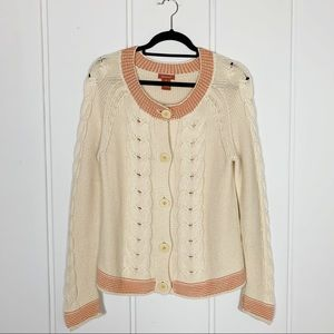 Sundance Cable Knit Button Down Cardigan Sweater
